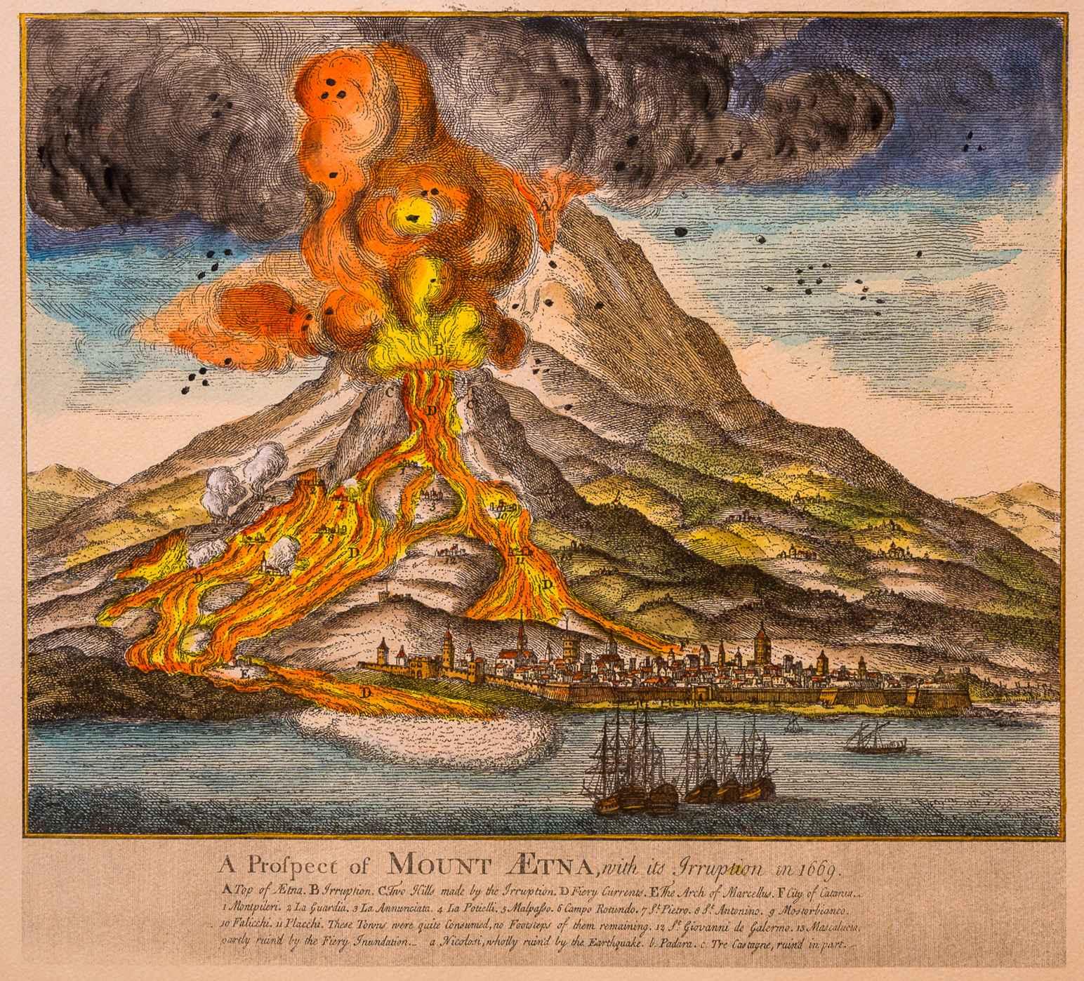 Etna su carta manoscritta - Riproduzione artigianale